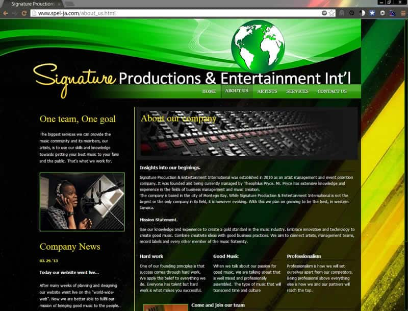 signature productions jamaica about page