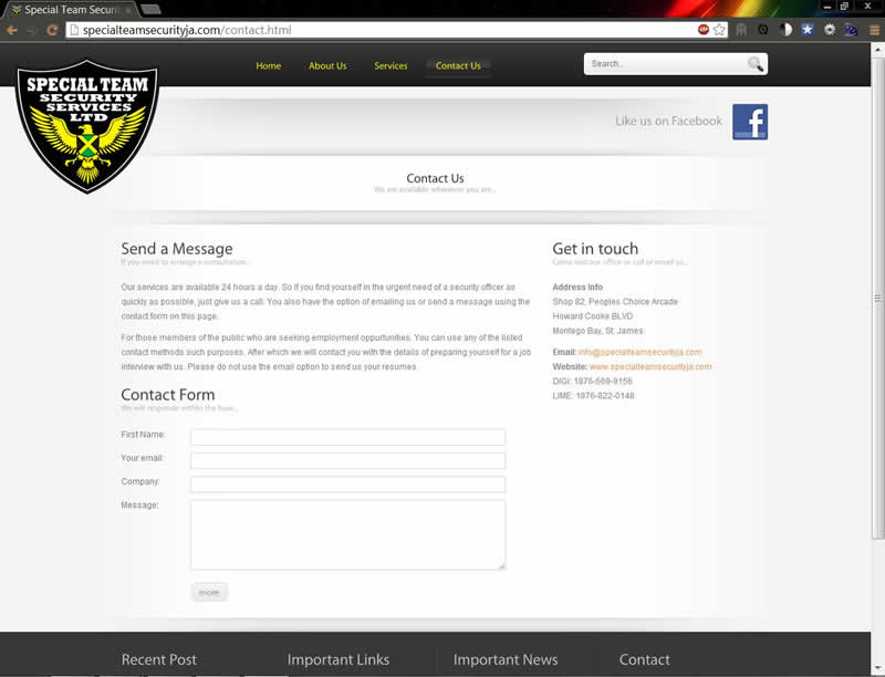 special team security ja contact page
